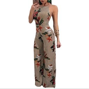 Floral Print Backless Wide Palazzo Leg Jumpsuit